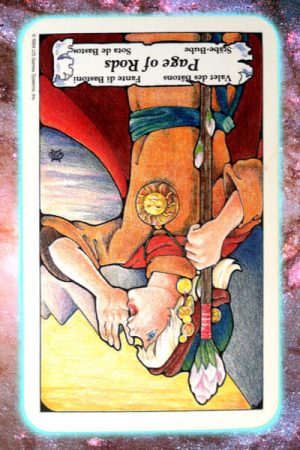 Reversed page of rods nine's path pleiadian tarot