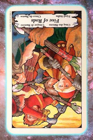 disengage five 5 rods wands reversed Nine's Path Pleiadian tarot