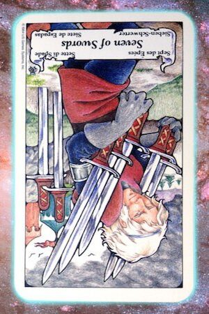 nine's path pleiadian tarot 7 seven of swords reversed