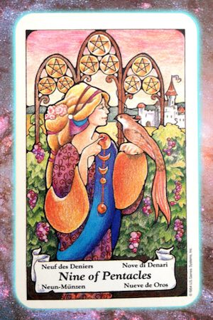 nine 9 of pentacles nine's path pleiadian tarot