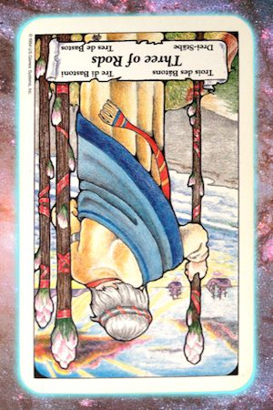 reversed 3 three of rods wands nine's path pleiadian tarot