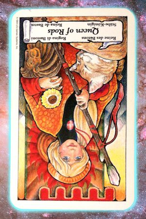 nine's path Pleiadian tarot reversed queen of rods wands