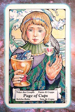 Nine's Path Pleiadian Tarot page of cups