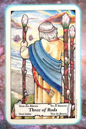 Nine's Path Pleiadian Tarot Three of Rods Wands