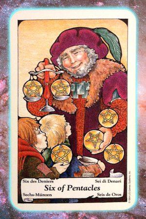 Nine's Path Pleiadian Tarot 6 Six of Pentacles