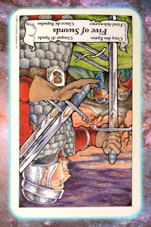 Nine's Path Pleiadian Tarot 5 Five of Swords reversed