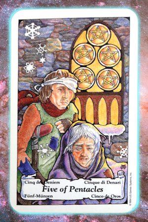 Nine's Path Pleiadian Tarot 5 Five of Pentacles