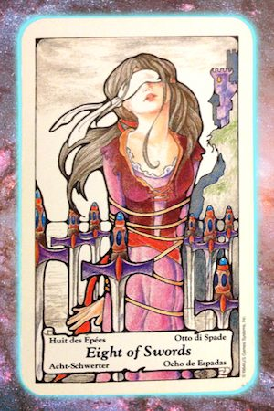 Nine's Path Pleiadian Tarot 8 Eight of Swords