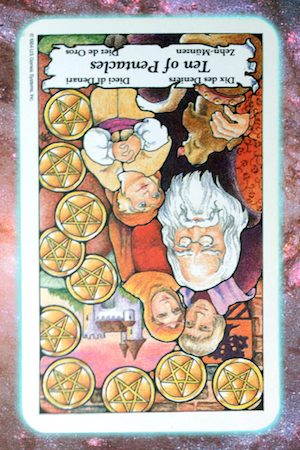 Nine's Path Pleiadian Tarot Ten of Pentacles reversed