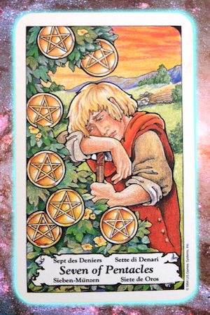 Nine's Path Pleiadian Tarot Seven of Pentacles
