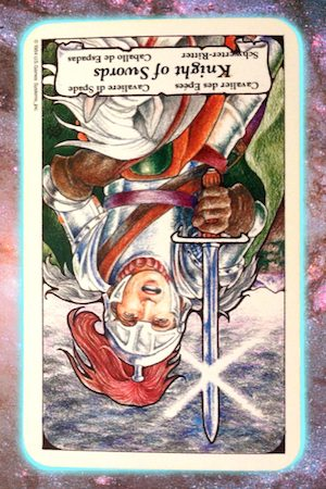 Nine's Path Pleiadian Tarot reversed knight of swords