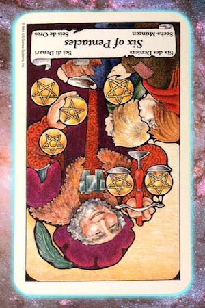 Nine's Path Pleiadian Tarot Six of Pentacles reversed